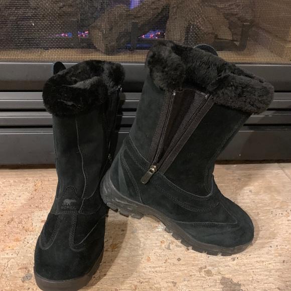 Womens Sorel Black Suede Winter Boots 7
